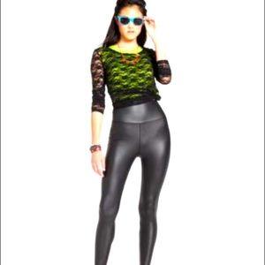Material Girl Lace black sheer Top